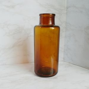 Vintage Amber Color Glass Jar without Lid